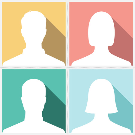 Male & female silhouette avatar profile pictures on vintage colorful background