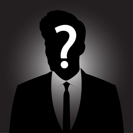 Businessman silhouette with question mark sign - anonymous  & suspicious concept Ilustração