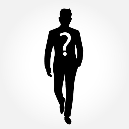 Anonymous man silhouette with question mark - full body picture - on white background Vector