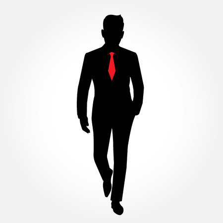 full body: Businessman silhouette  full body picture with red necktie  - on white background