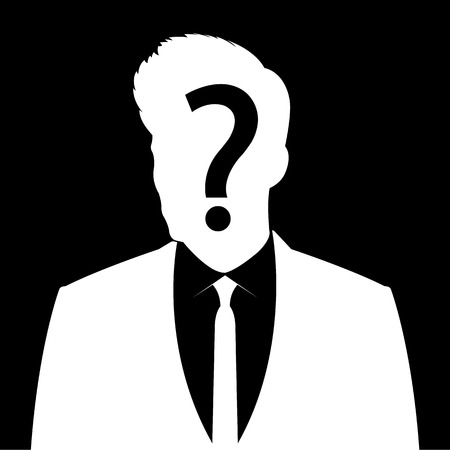 Man icon with question mark sign - anonymous  & suspicious concept Vector
