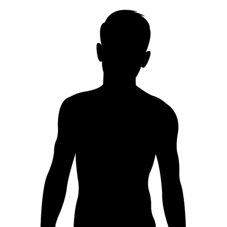 Male body silhouette on white background Vector