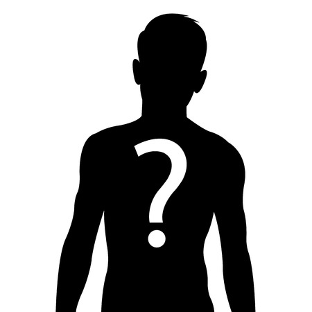 body silhouette: Male body silhouette with question mark sign - anonymous & suspicious concept