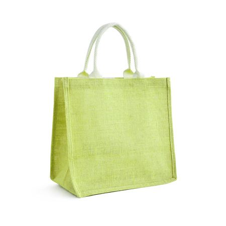reusable: Hessian or jute bag - reusable green shopping bag with loop handles - isolated Stock Photo