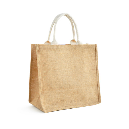 jute: Hessian or jute bag - reusable brown shopping bag with loop handles - isolated