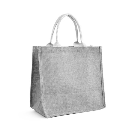 jute: Hessian or jute bag - reusable gray shopping bag with loop handles - isolated Stock Photo