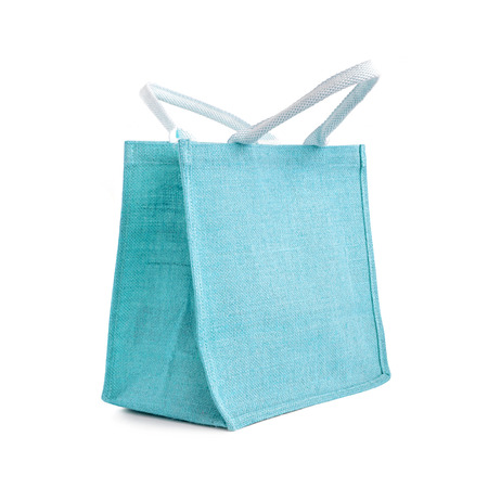 reusable: Hessian or jute bag - reusable blue shopping bag with loop handles - isolated