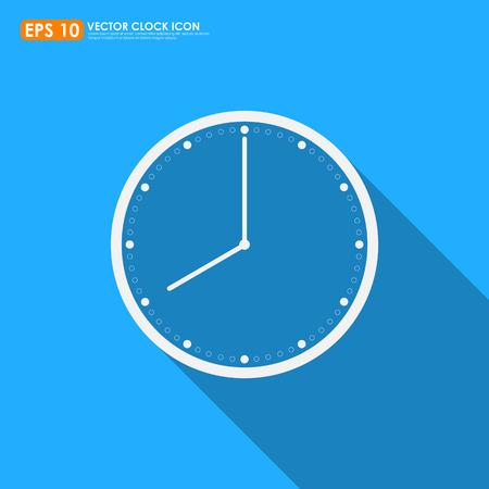 o'clock: Clock icon on blue background