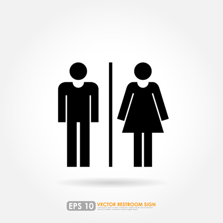 Toilet sign - male & female icons as toilet or restroom sign on white background Vector