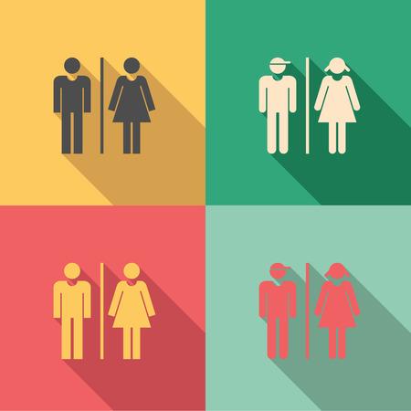 sexo femenino: Muestras del tocador - conjunto de iconos masculinos y femeninos como aseo o baños señales en colores de estilo vintage Vectores
