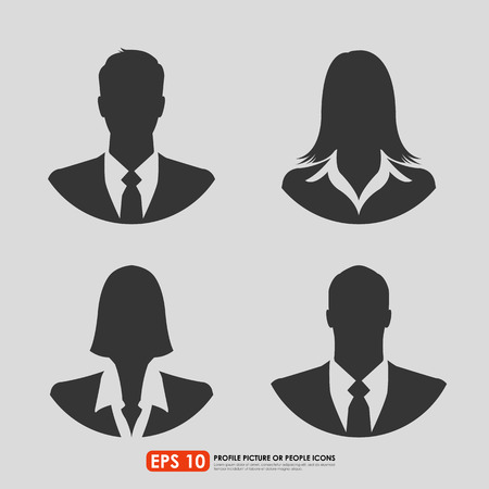 Businesspeople avatar profile picture set  - males & females - on gray  background Иллюстрация