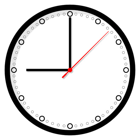 second hand: Clock icon on white background