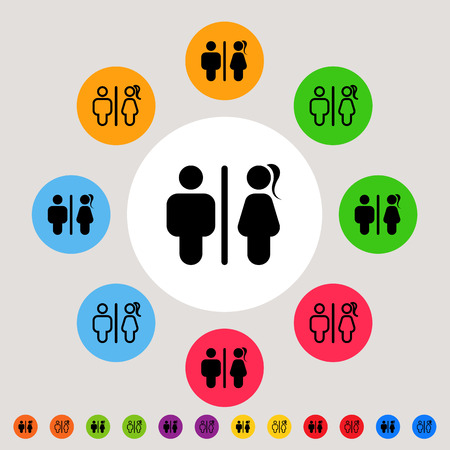 sex symbol: Toilet signs - set of modern male & female icons as toilet or restroom signs in colorful circle