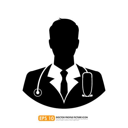 白い背景の上の医者のアイコン  イラスト・ベクター素材