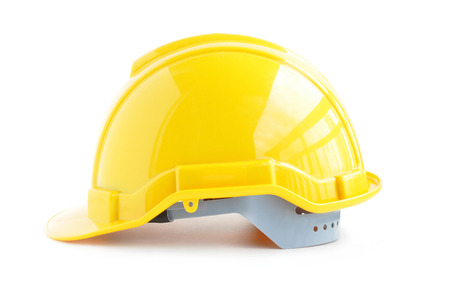 hard workers: Hard hat for industrial workers, engineers & architect - isolated on white background Stock Photo