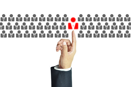 best idea: Businessman hand pointing to red human sign - business abstract - HR, HRM, HRD ,CRM concept
