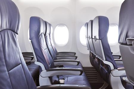 airplane window: Empty airplane seats