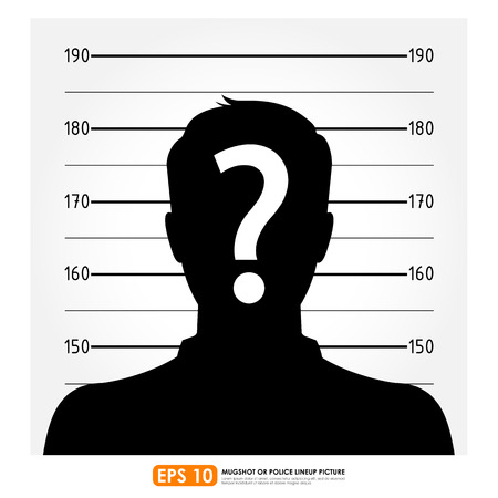 mugshot: Police lineup or mugshot of anonymous male silhouette