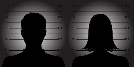 Police lineup or mugshot of anonymous male female silhouettes