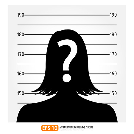 Police lineup or mugshot of anonymous female silhouette Vector