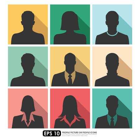 Avatar foto de perfil icon set incluyendo empresarios masculina, femenina sobre fondos de color de la vendimia