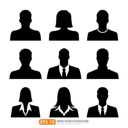 Avatar profile picture icon set including male, female   businesspeople on white background  イラスト・ベクター素材