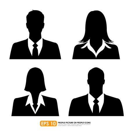 男性女性 - 白い背景の上を含む設定ビジネスマン アバター プロフィール画像  イラスト・ベクター素材