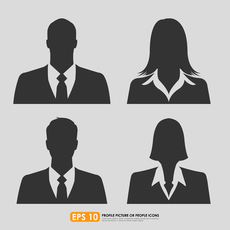 Businesspeople avatar profile picture set including males   females - on gray  background Иллюстрация