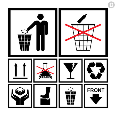 handling: Handling   packing icon set including recycle, fragile and no chemical signs etc  Illustration