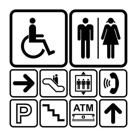 公共サービス記号のアイコンが白の背景に設定