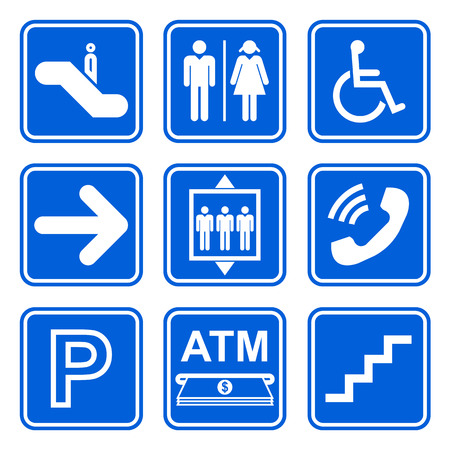 Public service sign icon set on blue background