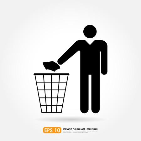 botar basura: No firme la basura en bcakground blanco - icono de vector