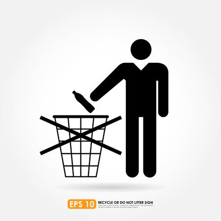 botar basura: No firme la basura en el fondo blanco Vectores