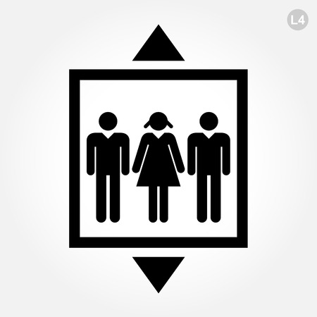 Elevator or lift sign on white background