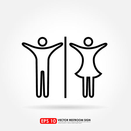 Male & female out line icons as toilet or restroom sign - young & teenager concept Vector