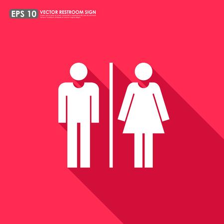 simbolo uomo donna: Segno della toletta - icone maschili e femminili come WC o bagno segno su sfondo rosso