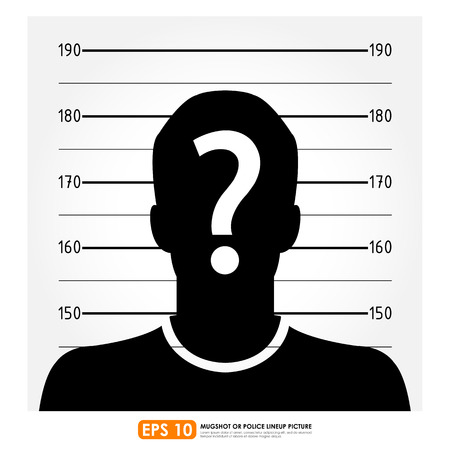 Police lineup or mugshot of anonymous male silhouette Vector