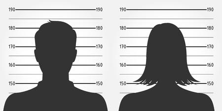 Formación de la policía o de la ficha policial anónima masculina y femenina siluetas
