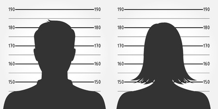 Police lineup or mugshot of anonymous male & female silhouettes Vector