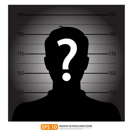 masculino: Formación de la policía o la ficha policial de la silueta masculina anónima