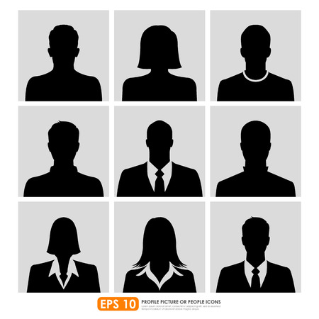 adults sex: Avatar profile picture icon set including male, female & businesspeople