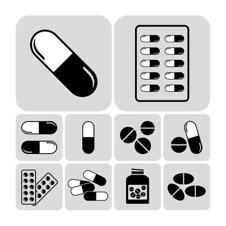 pilule: Medicamentos, incluyendo tabletas, píldoras y cápsulas - vector conjunto de iconos médica