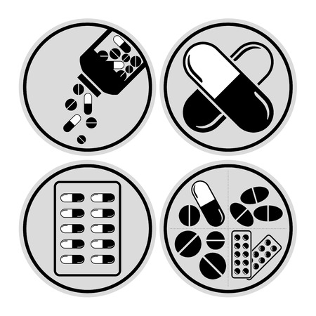 blister: Medicines including tablets, pills & capsules - medical vector icon set
