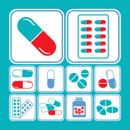 supplements: Medicines - tablet, pill & capsule icon set in blue & red theme