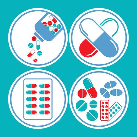 医薬品 - タブレット、ピル & カプセル アイコン セット ブルー & 赤をテーマに