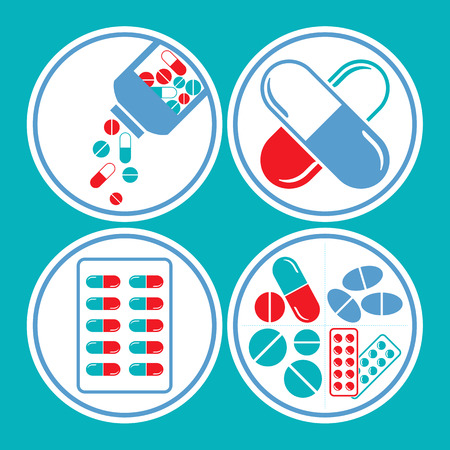Medicines - tablet, pill & capsule icon set in blue & red theme