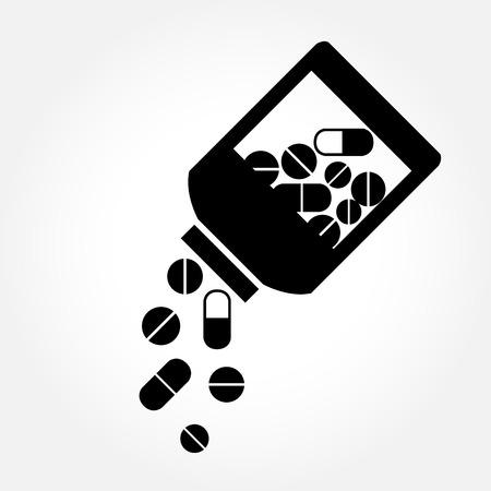 pastillas: Medicamentos que vierten fuera de la botella - icono de vector m�dica