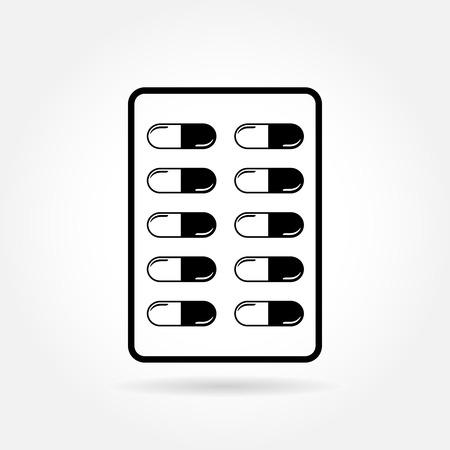 blister: Capsule pill medicines in blister pack - medical vector icon