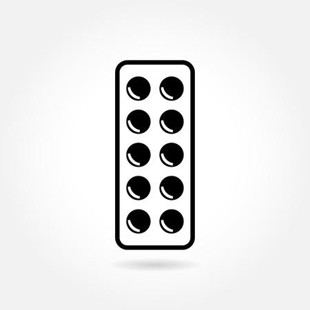 pilule: Tablillas de la medicina en blister - icono de vector médica