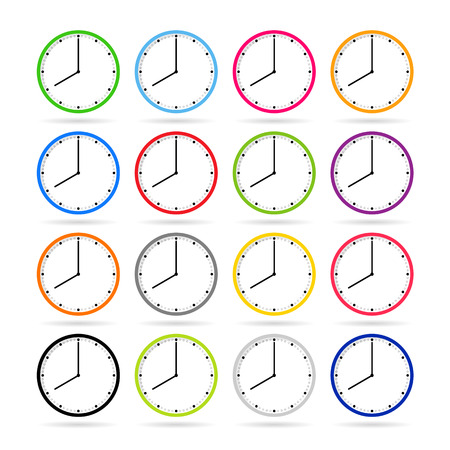 o'clock: Clock icons in colorful set Illustration